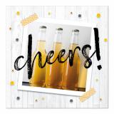 10 x  20 Servietten, 3-lagig 1/4-Falz 33 cm x 33 cm Cheers