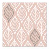12 x  30 Servietten, 3-lagig 1/4-Falz 33 cm x 33 cm rosa Leafy