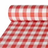 Papiertischtuch mit Damastprägung 50 m x 1 m rot Vichy Karo
