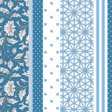 10 x  20 Servietten, 3-lagig 1/4-Falz 40 cm x 40 cm blau Patch