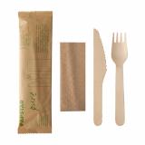 10 x  50 Besteckset, Holz pure : Messer, Gabel, Serviette in Papierbeutel