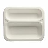 6 x  100 Siegelschalen, Zuckerrohr 2-geteilt 4,2 cm x 21,2 cm x 25 cm weiss