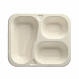 6 x  100 Siegelschalen, Zuckerrohr 3-geteilt 4,2 cm x 21,2 cm x 25 cm weiss