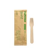 10 x  50 Eislöffel, Holz pure 9,4 cm einzeln verpackt in Papierbeutel