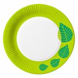 20 x  10 Teller, Pappe rund Ø 23 cm grün Graphic Leaves