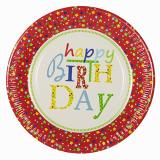 20 x  10 Teller, Pappe rund Ø 23 cm Happy Birthday