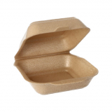 4 x  125 Hamburger-Boxen groß mit Klappdeckel, XPP 7 cm x 15 cm x 15 cm beige