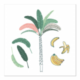10 x  20 Servietten, 3-lagig 1/4-Falz 33 cm x 33 cm Palm and Bananas