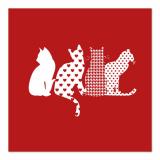 10 x  20 Servietten, 3-lagig 1/4-Falz 33 cm x 33 cm rot Cats