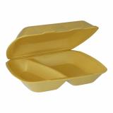 2 x  100 Menüboxen mit Klappdeckel, XPS 2-geteilt 7,5 cm x 24,3 cm x 20,8 cm gold