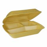2 x  100 Menüboxen mit Klappdeckel, XPS 3-geteilt 7,5 cm x 24,3 cm x 20,8 cm gold