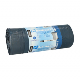 12 x  20 Müllsäcke mit Zugband, LDPE blauer Engel 120 l 100 cm x 70 cm blau/schwarz