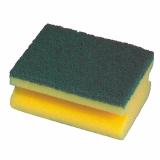 20 x  2 Topfreiniger, Schwamm eckig 4,3 cm x 9 cm x 6,8 cm gelb/grün mit Griffrille, kratzend