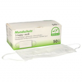 10 x  50 Medi-Inn® Mundschutz Type II, 3-lagig 9 cm x 17,5 cm weiss mit Nasenbügel