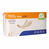 10 x  100 Medi-Inn® PS Handschuhe, Vinyl gepudert Light transparent Größe L