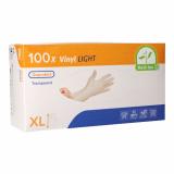 10 x  100 Medi-Inn® PS Handschuhe, Vinyl gepudert Light transparent Größe XL