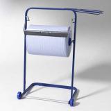 Bodenständer für Putzrollen 89,5 cm x 38 cm x 75 cm blau mit Abfallsackhalterung