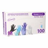10 x  100 Top Glove Handschuhe, Nitril puderfrei Screen touch blau Größe M