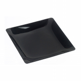 10 x  10 Fingerfood - Teller, PS eckig 1,3 cm x 11 cm x 11 cm schwarz Fluid